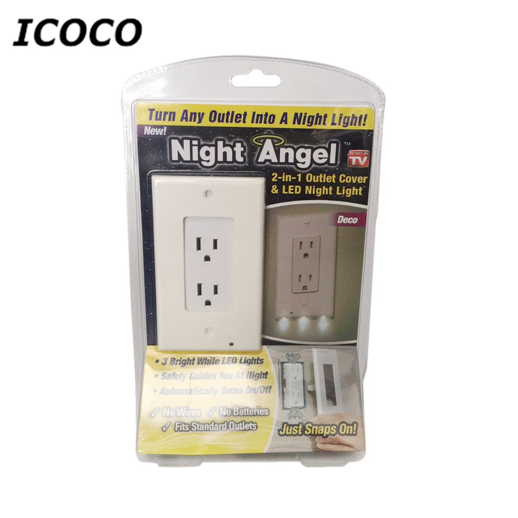 2018 New LED Sensor Light Wall Outlet Coverplate With LED Cover Night Light Emergency Safety Lamps For Kitchen Hallway Sale