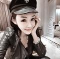 Marca New Vintage 2016 Nova Marca de Estilo Coreano mulheres transversais Planas Bonés Militares Uniforme Capitão Skipper Sailor Caps Chapéus 1526263124