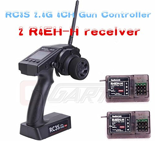 RadioLink RC3S 2.4G 4CH Gun Controller Transmitter + 2pcs R4EH-H Receiver for RC for Car and Boat original radiolink rc4g 2 4g 4ch gun controller transmitter r4eh g receiver radio control system rc car remote control boat