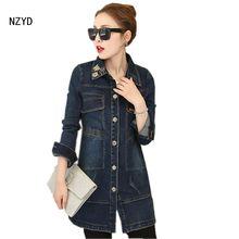 Spring/Autumn Women Jeans Coat 2017 New Fashion Medium long Cowboy Outwear Irregular Long sleeve Slim Big yards Coat LADIES148