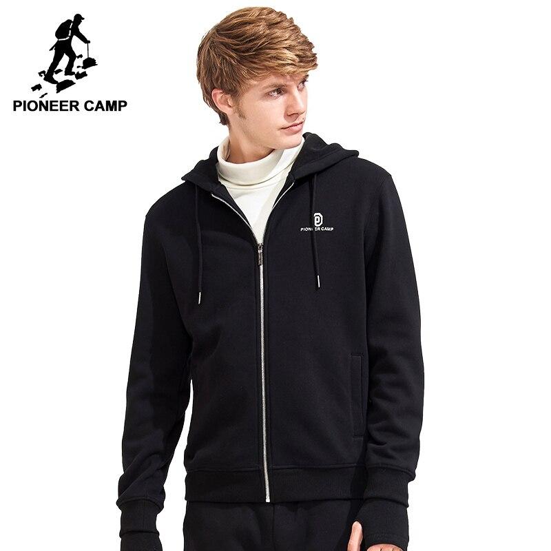 Пионерский лагерь теплое флисовое пальто брендовая мужская одежда черный с капюшоном зимние Утепленные Пальто Мужской Качество 100% хлопков...