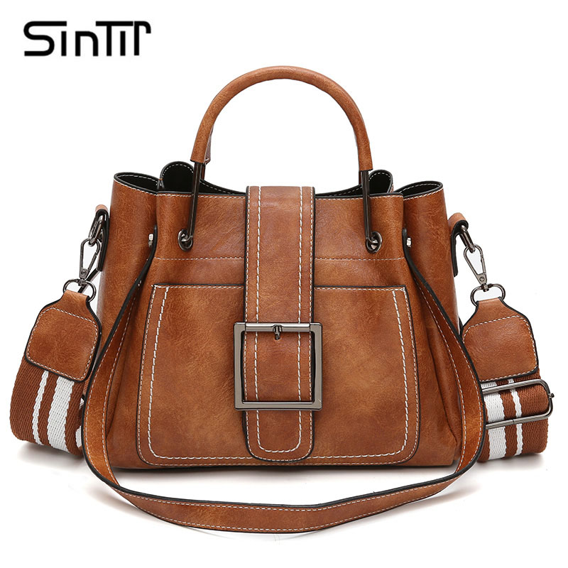SINTIR Brand Soft Leather Solid Handbags Women Messenger Bags Casual Tote Bag Pin Type Women Fashion Shoulder Bags Bolsos Mujer