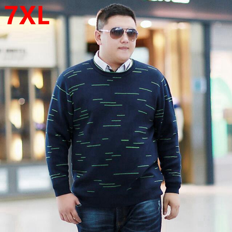 Men's autumn clothing new arrival plus size male top fat sweater loose o-neck pullover sweater 7XL Big yard sweater 6XL 5XL 4XL