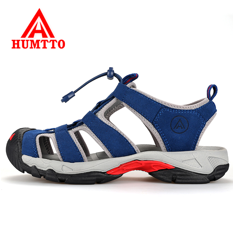 Humtto Summer Outdoor Women Men Hiking Sandals Outdoor Sandals For Couples Men's Genuine Leather Beach Climbing Mountain Shoes