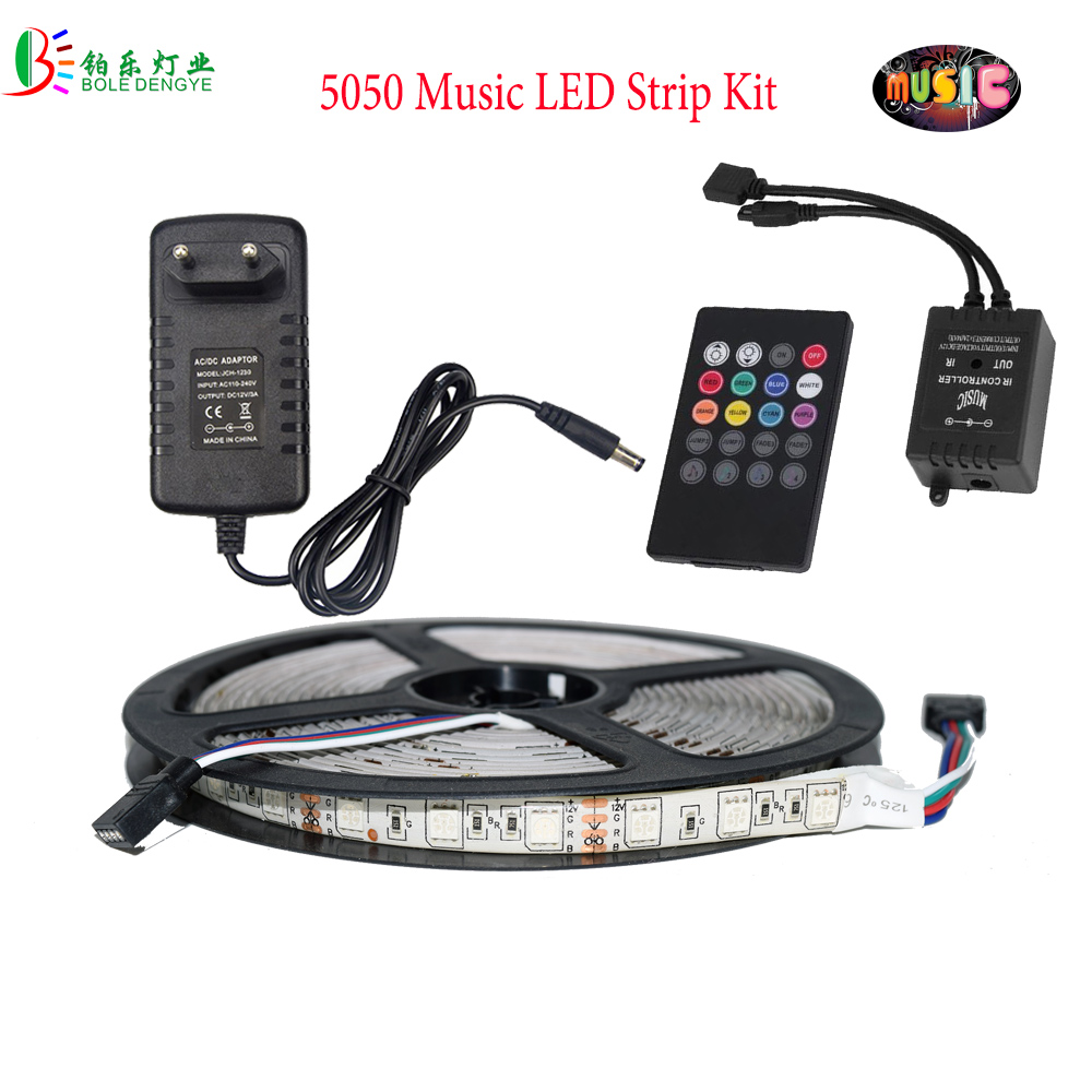 5M RGB LED Strip Kit 5050 2835 Waterproof RGB Music Tape Light WIFI Phone Remote Controller Sound Control Party Home Decoration 4pc car auto music control rgb led strip 12led 5050 smd voice controller flexible light led tape home decoration atmosphere lamp