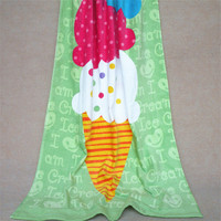 Hot Sale 100 Cotton Green Ice Cream Pattern Reactive Print Sheared Bath Towel Super Absorbent Beach