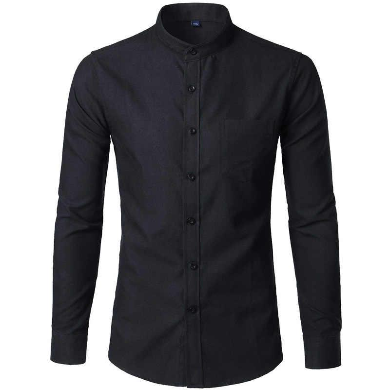 オックスフォードコットンメンズドレスシャツ 2018 春新スタンド襟シュミーズオムカジュアルスリムフィット Camisas ユーススタイル男性服 6XL