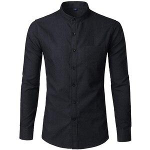Image 4 - Рубашка мужская приталенная с воротником стойкой, х/б, 6XL