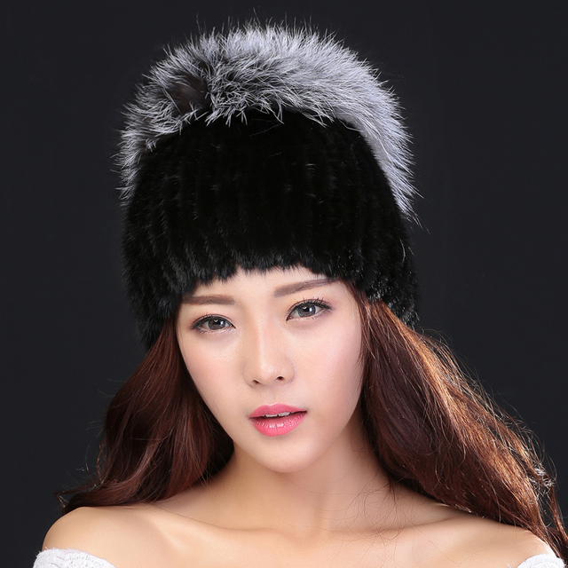 Mink Fur Beanies Cap With Fox Fur Pompoms For Women 2016 New Brand Thicken Female Cap Winter Knitted Real Mink Fur Hat