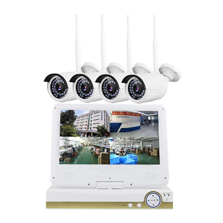 CWH Wireless LCD NVR 1080P HD Outdoor Home Security Camera System 2MP 4CH CCTV Video Surveillance NVR Kit HDD Wifi Camera Set