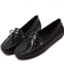Весна лето женщины повседневная дышащие плоские туфли круглый носок лук узел девушку горох лодка обувь балетки мокасины оксфорды шампанское