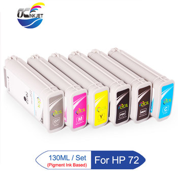 Third Party 130ML/PCS For HP 72 Ink Cartridge Full With Pigment Ink For HP T610 T620 T770 T790 T1100 T1120 T1200 T1300 Printer image