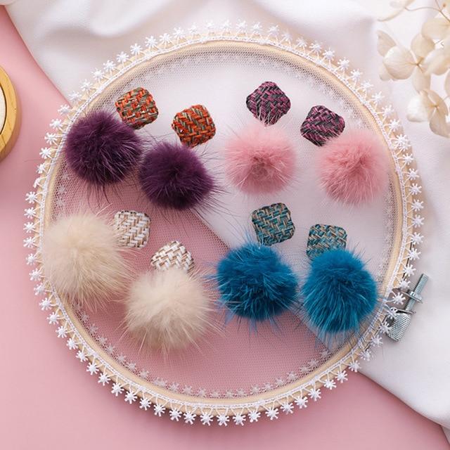 3c8e4650a7fb10 Korean Cute Romantic Fabric Plain Square Button Mink Hair Blue Purple Beige Pink  Pompom Drop Earrings