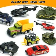 цена на Mini Alloy Cars Tractor Excavator Toy Diecast Metal Alloy Model Toy Car 1:64 Metal Vehicle Police Christmas gift Black