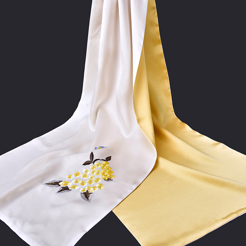 100% чистый Шелковый шарф роскошный 2019 Ханчжоу 16 момме шелковые шали и палантины для женщин ручная вышивка натуральный шелк шарфы - 3