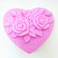Rose silicone mould baking supplies sugar craft love heart shape soap making mold