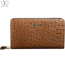 YINTE Men's Wallet Genuine Leather England Style Clutch Bag Passport Purse Men Wrist Bag Ostrich Pattern Cow Leather T025-2