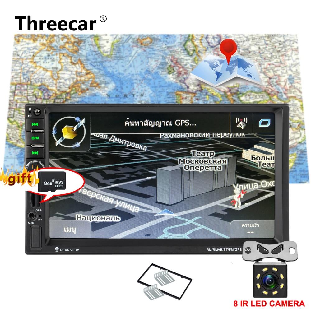 7020G double 2 DIN voiture audio auto radio bluetooth lecteur 7 ''miroir écran tactile autoradio 2din GPS Navigation stéréo FM USB TF