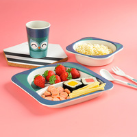 Cartoon bamboo tableware safe dinnerware plate kids bowl plastic cup cute 5pcs/set dinnerware set