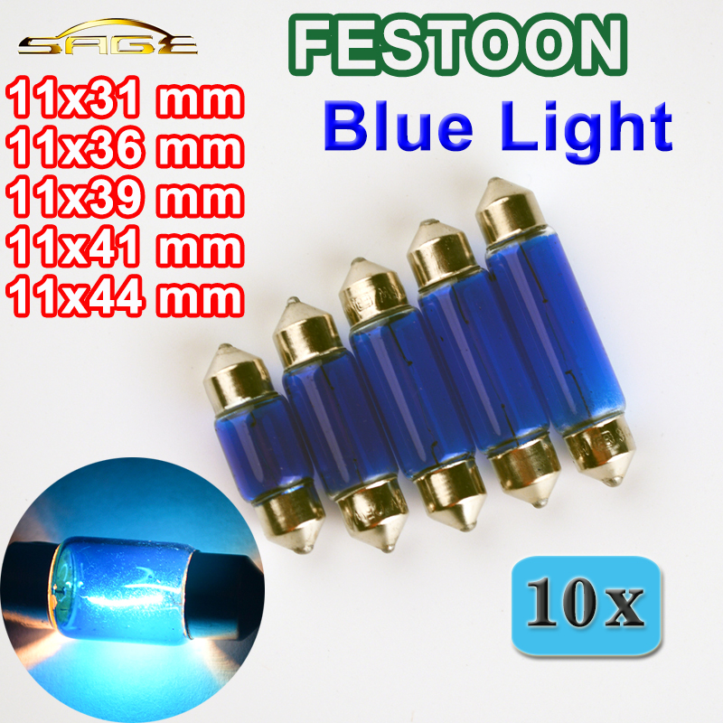 flytop 10 PCS Blue Glass FESTOON SV8.5 31mm 36mm 39mm 41mm 44mm Auto Light C5W Car Bulb 12V5W Automotive Lamp 2pcs 12v 31mm 36mm 39mm 41mm canbus led auto festoon light error free interior doom lamp car styling for volvo bmw audi benz