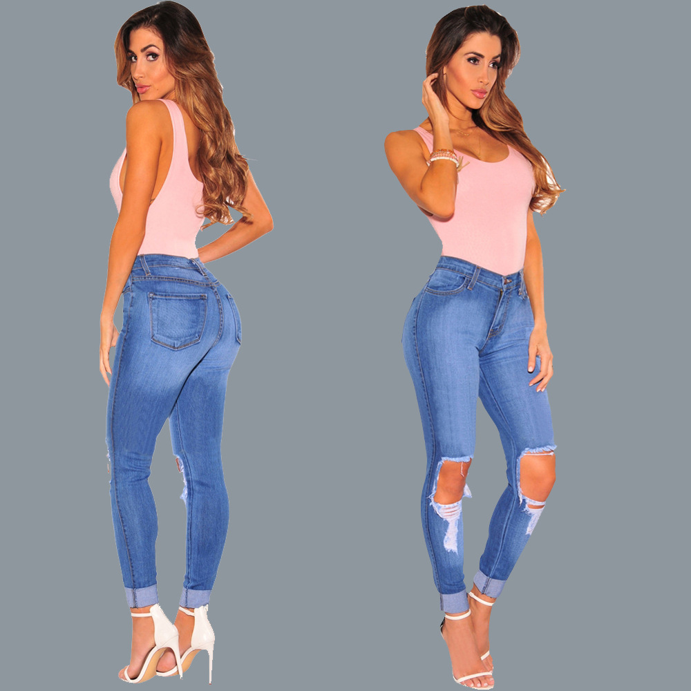 Europe and the United States sell hot style ripped jeans supersize boo stretch feet pants