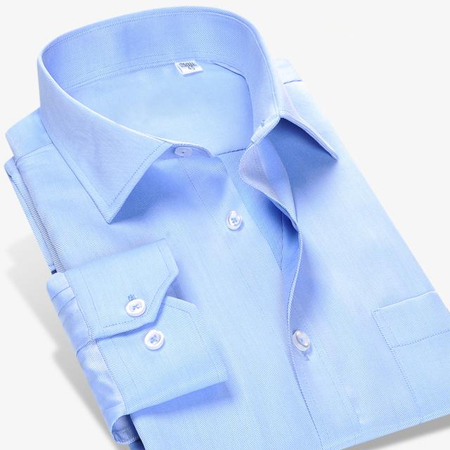 2017 dos homens de Manga Longa Slim Fit Enrugamento-Livre Sólidos Camisas de Vestido de Sarja 100% Algodão Formais Elegantes Camisas Casuais Camisa Masculina