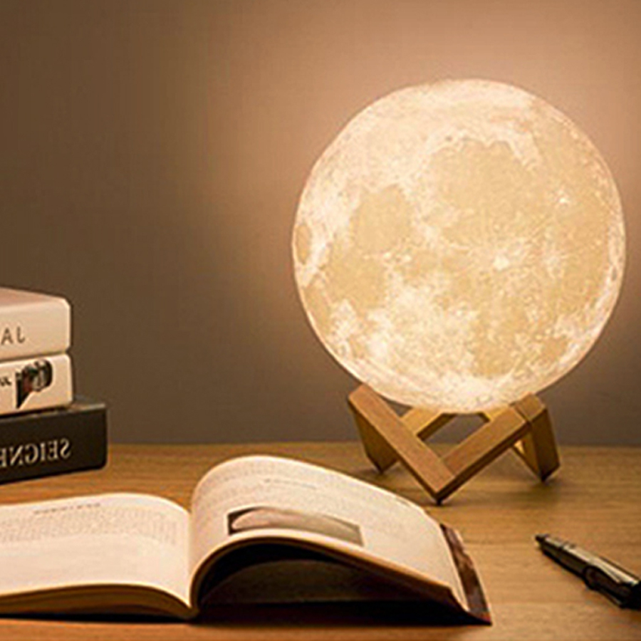 Tanbaby USB Rechargeable 3D Printing Moon Lamp 2-Color Change Dimmable Night Light Table Desk Lamp Bedroom Home Decoration space shark 3d printing home wall hanging tapestry for decoration