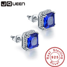 JQUEEN 3.8ct sapphire-jewelry 925 sterling silver earrings Princess Cut blue ear rings Brincos Hot Sale birthday gift for women(China)