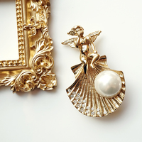 Free shipping Genesis shell angel pearl brooch pendant double use fashion brooch