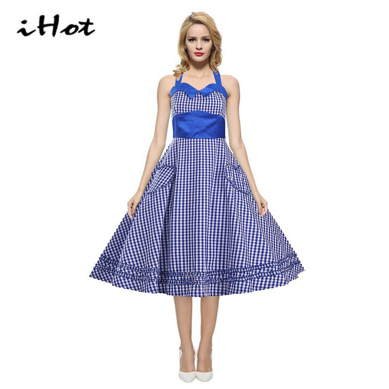 Vestido de festa women summer fashion Retro swing vestidos pin up plaid Vintage 50s 60s Rockabilly