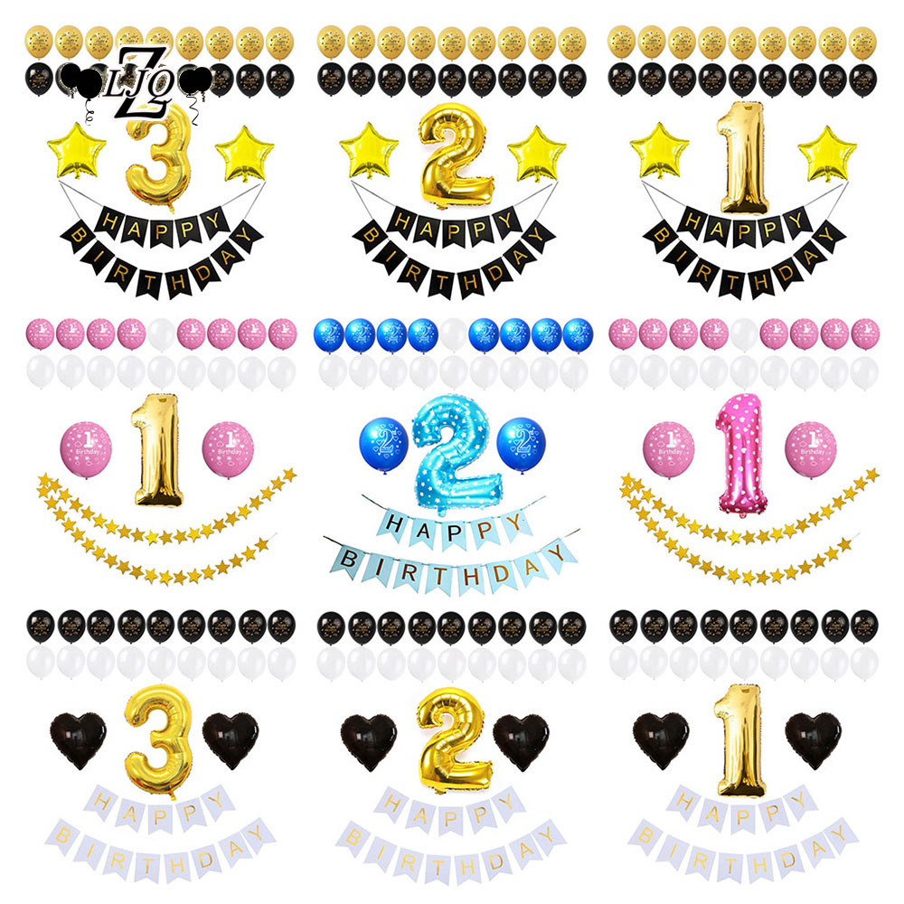 ZLJQ 3rd Third Happy Birthday Balloon Banner Party Set