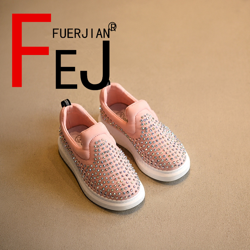 Kids Shoes 2017 FUERJIAN Spring New Casual Comfort Boys Girls Diamond Shoes Genuine Leather Fashion Children Shoes Sneakers Lazy 2016 new arrival fashion kids shoes pu leather children shoes for boys