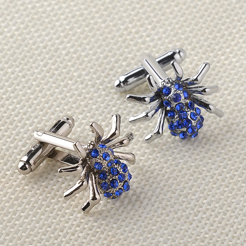 Newest Fashion Blue Crystal Spider Cufflinks For Men High Quality Male French Shirt Cuff Links For Men's Jewelry Gift