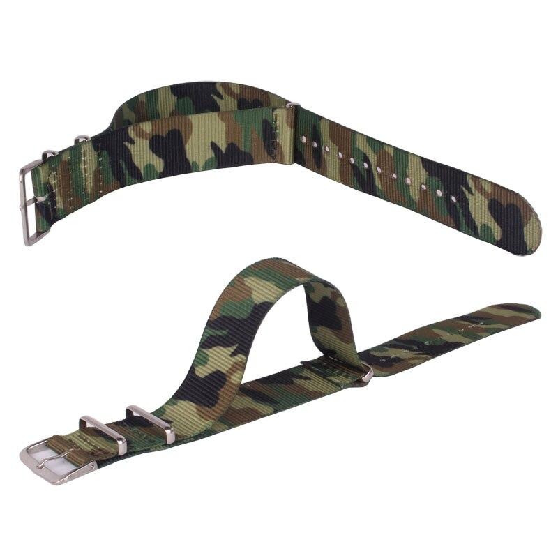 Army Military Nato Nylon 18mm 20mm 22mm Camouflage stoff Gewebt uhrenarmbänder Band Schnalle gürtel 22mm zubehör