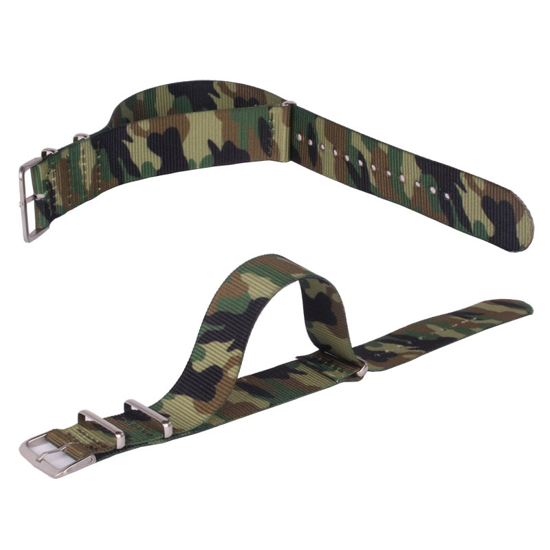 купить Army Military Nato Nylon Watch 18mm 20mm 22 mm Camouflage fabric Woven watchbands Strap Band Buckle belt 22mm accessories по цене 269.01 рублей