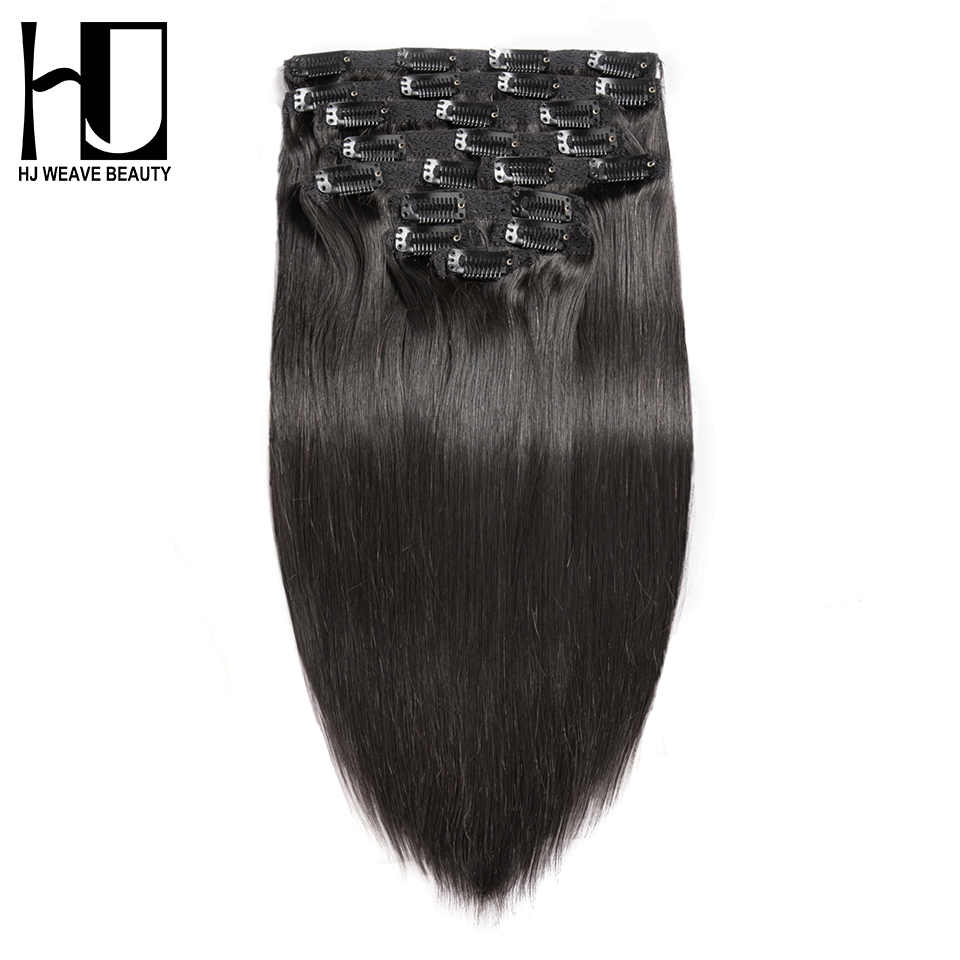 7A HJ WEAVE BEAUTY Clip In Human Hair Extensions Straight Natural Color 10 Pieces/Set 140G Remy Hair 14-22 Inch