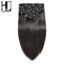 7A HJ WEAVE BEAUTY Clip In Human Hair Extensions Straight Natural Color 10 Pieces/Set 140G Remy Hair 14-22 Inch(China)