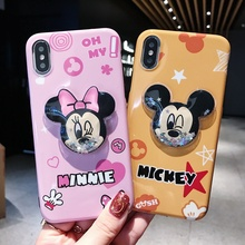 купить Cartoon Mickey Donald Duck Minnie Decompression water bag Phone Case For iPhone 6 6S 7 8 Plus X XR XS MAX Soft Back Cover Couple дешево