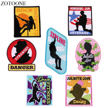 ZOTOONE Iron on Letter Patches for Clothes Backpack Applique Embroidered Rock Flag Patch Jacket Jeans DIY Sewing Accessories