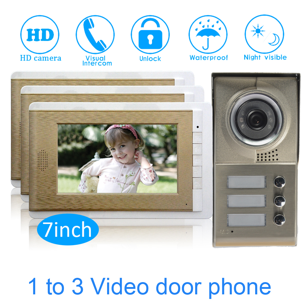 Family Use One To Three Video Door Phone System 7'' Monitor LCD Panel Wire Type Water Proof Function Smart Doorbell Intercom
