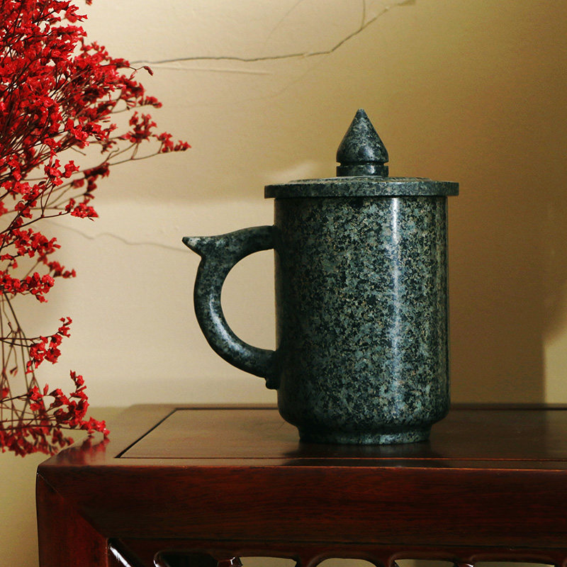Inner Mongolia Maifanshi ceramic cup with cover tea set natural original stone handmade mug 400ML