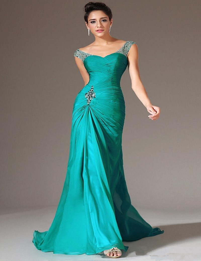 Vestido de Festa Longo Gorgeous Green Chiffon Mremaid Bridesmaid ...