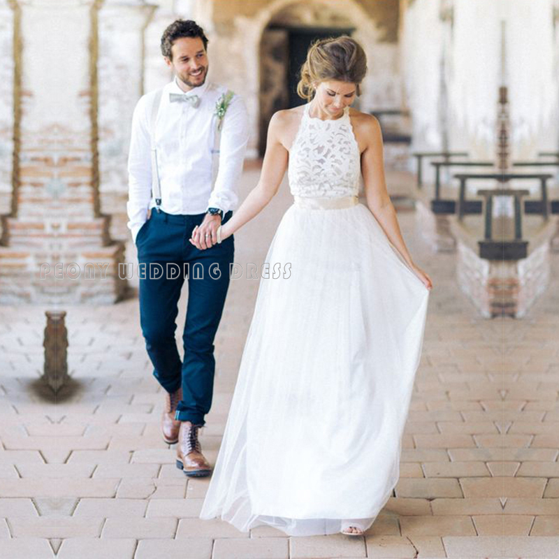 Us 131 2 Simple Summer Tulle Lace Wedding Dresses Empire Halter Beach Wedding Dress Cheap White Bridal Dresses Long Wedding Gowns Pb65 In Wedding