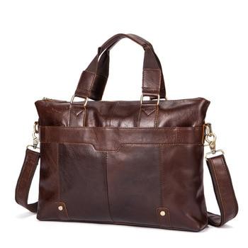 Men's shoulder messenger bag briefcase man' business Genuine Leather casual handbag male messenger bags for 14″ laptop briefcase Men's Backpacks