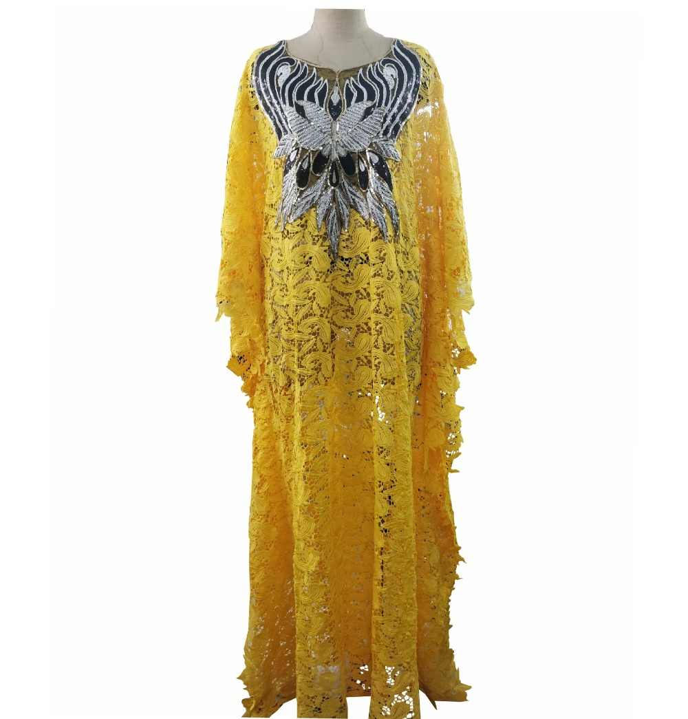 Супер размер новый стиль африканская Женская Дашики Мода водорастворимые кружева свободная юбка с бисером вышивка длинное платье 831