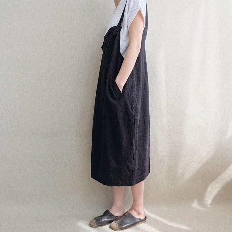 33b998f64d 2018 ZANZEA Women Strappy Sleeveless Solid Loose Dungarees Bib Dress Back V  Cotton Linen Pockets Midi Party Vestido Plus Size-in Dresses from Women s  ...