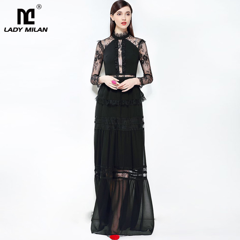 New Arrival 2018 Womens O Neck Long Sleeves Lace Patchwork Ruffles Elegant Party Prom Maxi Designer Dresses