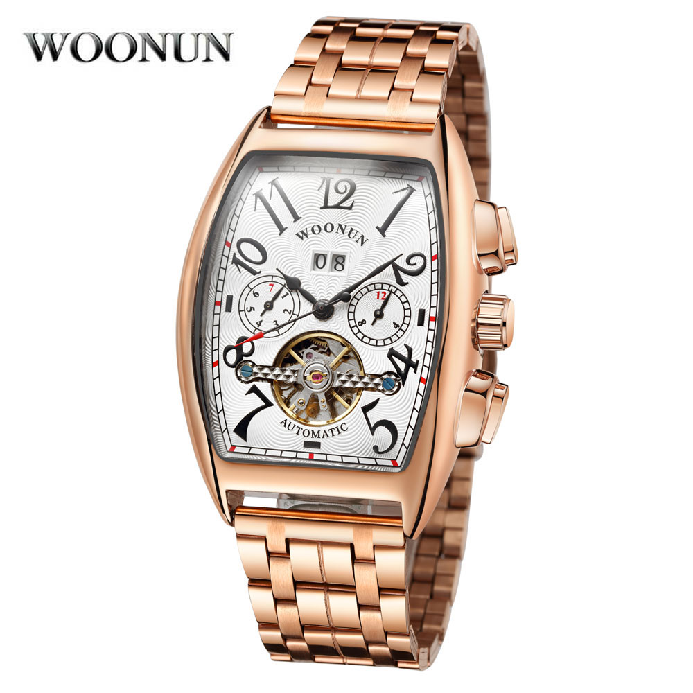 New 2018 Rose Gold Business Mechanical Wristwatches Men Luxury Famous Brand Stainless Steel Band Tonneau Watch Relogio Masculino цена
