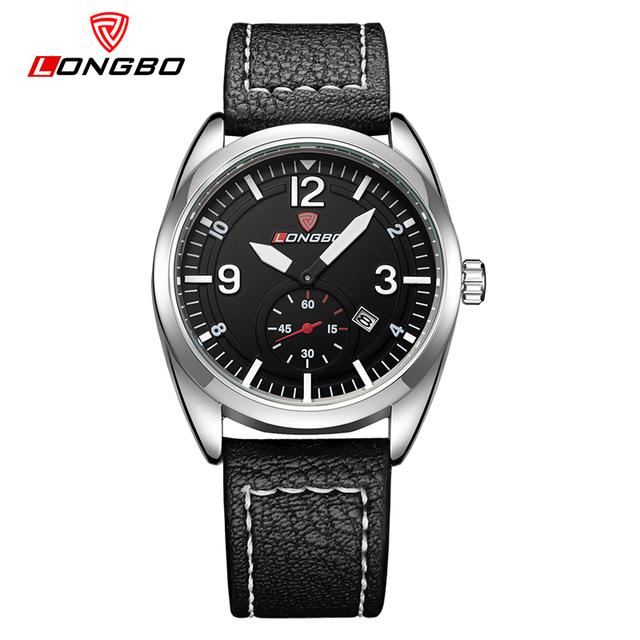 Longbo assista men watch auto data relógios militar moda relógios esportivos de couro à prova d' água horas relógio montre homme reloj hombre