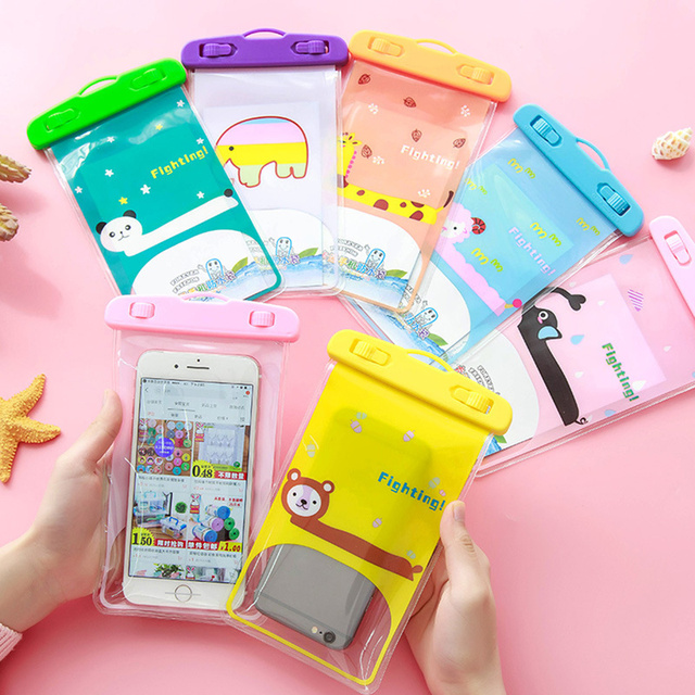 Mobile Phone Bag Cartoon Animal Touch Screen Smartphone Case Cover Pocket with Lanyard for IPhone Android Waterproof Swimming